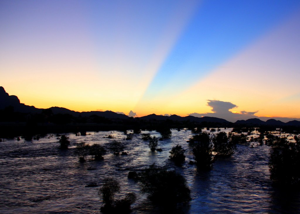 Santa Cruz River after a monsoon flood. Marana, Arizona.