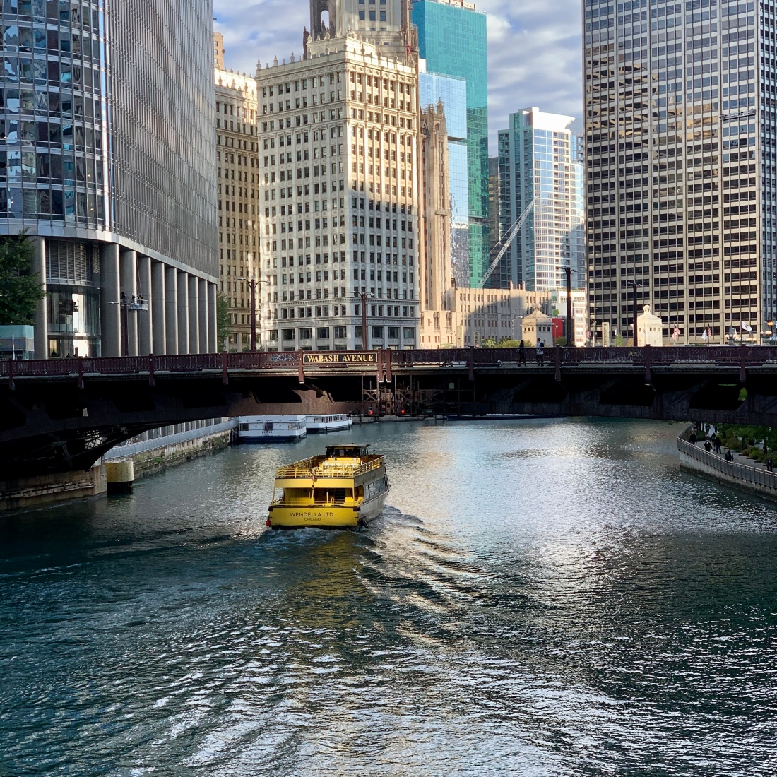 Downtown Chicago, boat and buildings